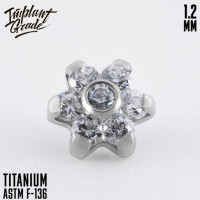 Накрутка Little Flower CZ Swarovski Implant Grade 1.2 мм титан
